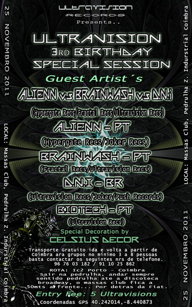 Party Flyer Ultravision Records 3rd Birthday Special Label Reunion... 25 Nov '11, 23:30