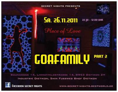Party Flyer *Goafamily part 2* Place of Love 26 Nov '11, 22:30