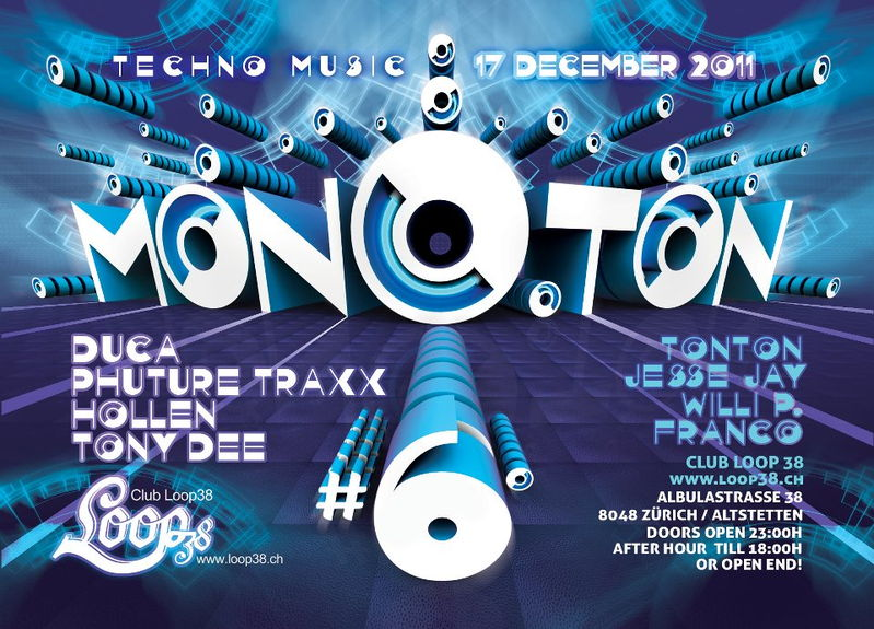 Party Flyer Mono.Ton 6 & After Hour till 18:00 17 Dec '11, 23:00