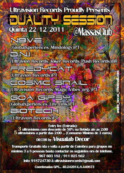 Party Flyer Duality Session Powered by Ultravision Records 22 Dec '11, 23:30