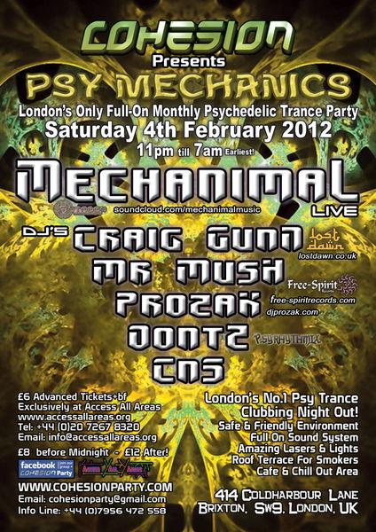 Party Flyer Cohesion Presents: Psy Mechanics 4 Feb '12, 23:00