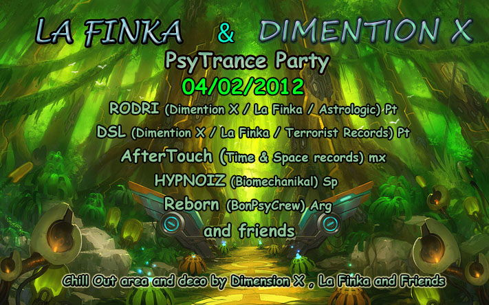 Party Flyer La Finka & Dimension X 4 Feb '12, 23:30