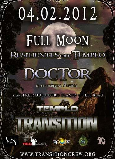 "Party Flyer Full Moon ""Residentes del Templo"" 4 Feb '12, 23:30"