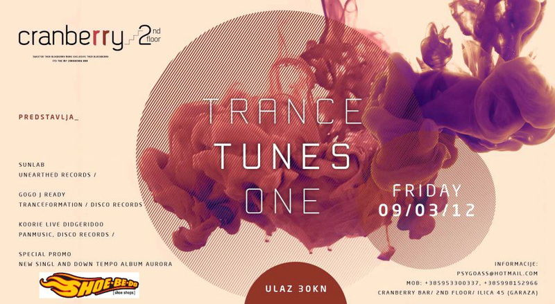 Party Flyer TRANCE TUNES ONE 9 Mar '12, 22:00