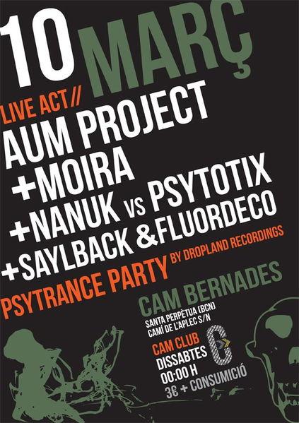 Party Flyer ..:: Dropland @ Cam Club ::.. AUM PROJECT live ! 10 Mar '12, 23:30