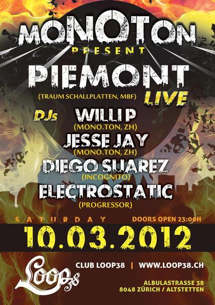 Party Flyer Mono.Ton -- PIEMONT live @ Zürich 10 Mar '12, 23:00