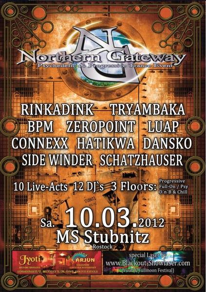 Party Flyer NORTHERN GATEWAY 15 @ MS STUBNITZ - 3 Floors 10 Mar '12, 23:00