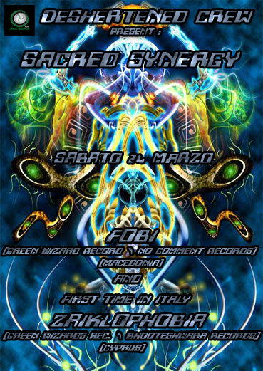 Party Flyer >>> SACRED SYNERGY : ZAIKLOPHOBIA (Cyprus) FOBI (Macedonia) 24 Mar '12, 23:00