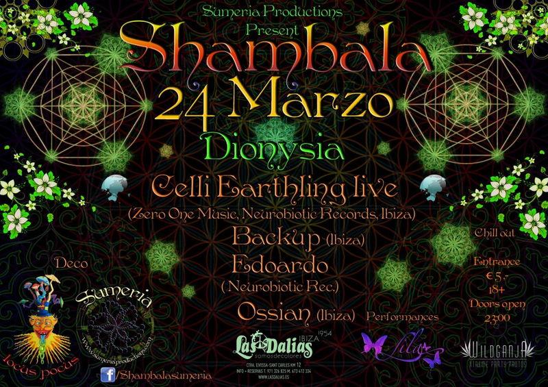 Party Flyer Shambala Dyonisia @ Las Dalias Ibiza 24 Mar '12, 23:00