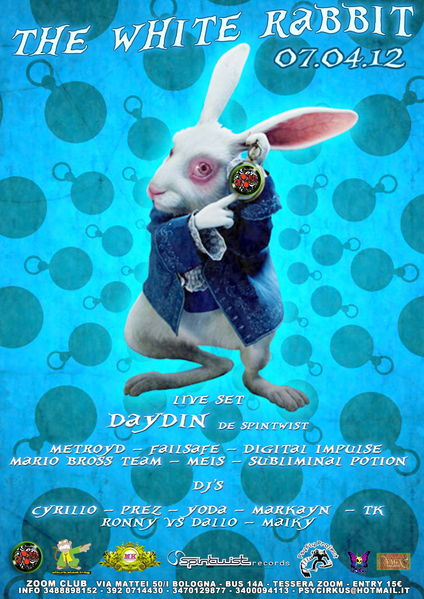 Party Flyer THE WHITE RABBIT - DAY DIN LIVE SPINTWIST 7 Apr '12, 23:00