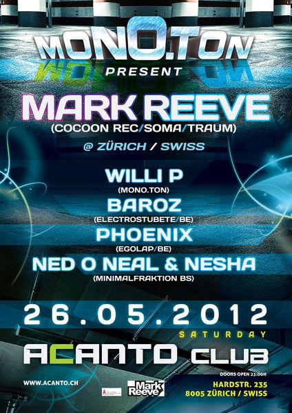 Party Flyer Mono.Ton present MARK REEVE 26 May '12, 23:00