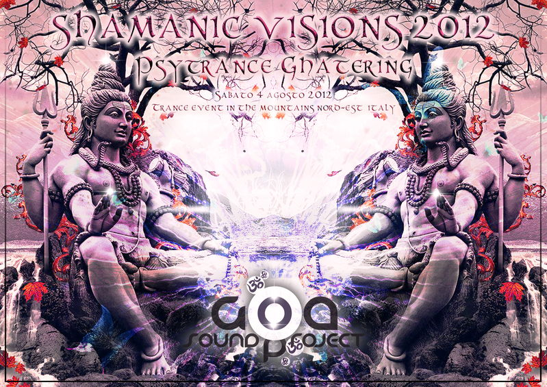 Party Flyer SHAMANIC VISIONS 2012 - From Brazil Live : BURN IN NOISE 4 Aug '12, 21:00