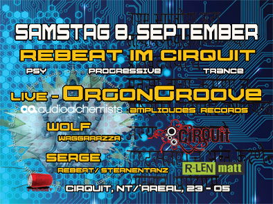 Party Flyer REBEAT IM CIRQUIT 8 Sep '12, 18:00