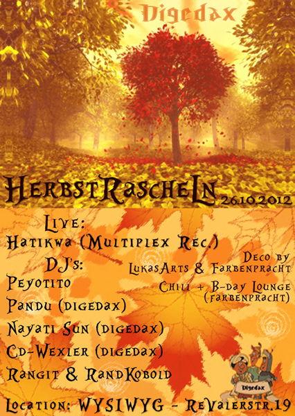 Party Flyer Digedax - Herbstrascheln 26 Oct '12, 23:00