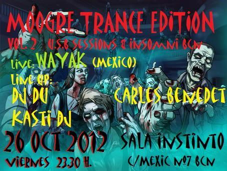 Party Flyer MOOGRE TRANCE EDITION Vol.2 U.S.B SESSIONS & INSOMNI 26 Oct '12, 23:30