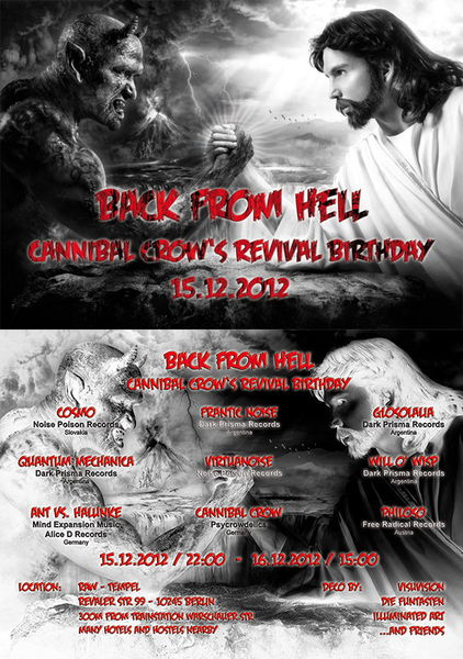 Party Flyer Back from Hell - Cannibal Crow\\\'s Revival Birthday 15 Dec '12, 22:00