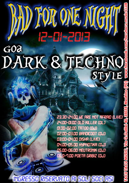 Party Flyer BAD FOR ONE NIGHT 12 Jan '13, 23:00