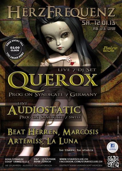 Party Flyer Herzfrequenz mit Querox @ Stairs Club Zürich 12 Jan '13, 23:00