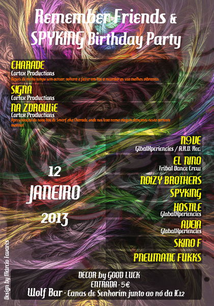 Party Flyer Remember Friends & SPYKING Birthday Party 12 Jan '13, 23:30