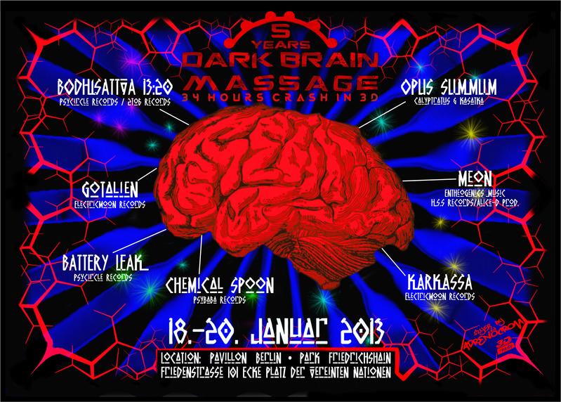 """Party Flyer *ह""""5Years !!"""" DARK BRAIN MASSAGE ~34hours Crash in 3D!!ह* 18 Jan '13, 21:00"""