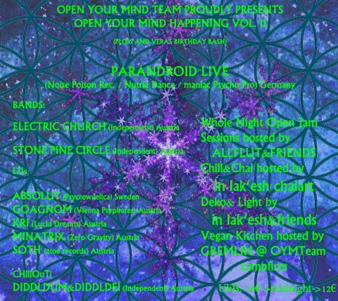 Party Flyer OPEN YOUR MIND VOl. 2 Psychedelic Rock meets Psychedelic/Hi-Tech PARANDROID LIVE 12 Apr '13, 20:30