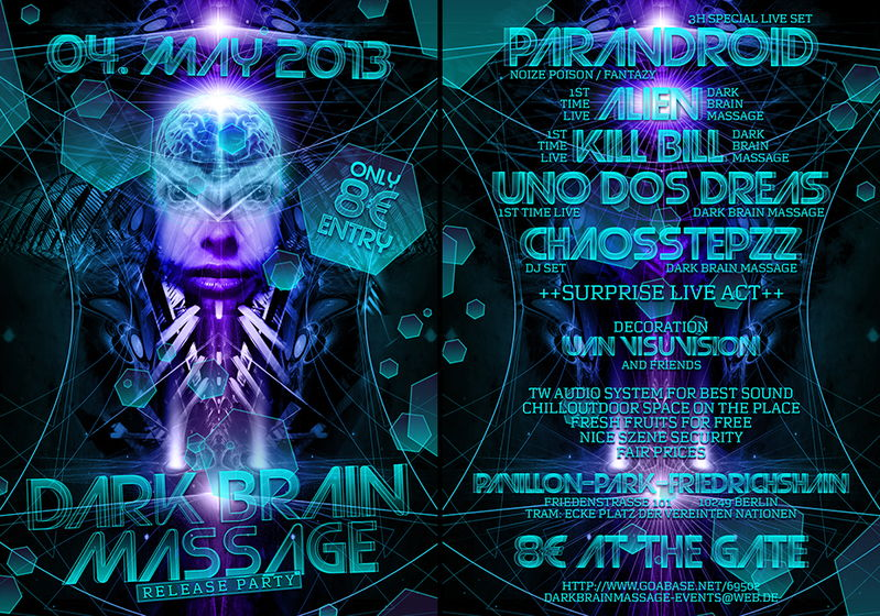 Party Flyer होल्. Dark Brain Massage Music - Release Partyyy .होल् 4 May '13, 21:00