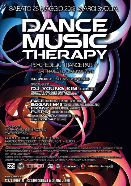 Party Flyer Dance Music Therapy - D.M.T. Project Launching Party 25 May '13, 23:00