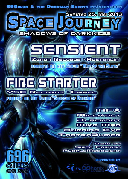 Party Flyer Space Journey - Shadows of darkness 25 May '13, 23:00