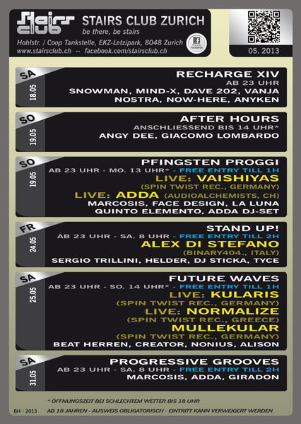 Party Flyer Progressive Grooves @ Stairs Club Zürich 31 May '13, 23:00
