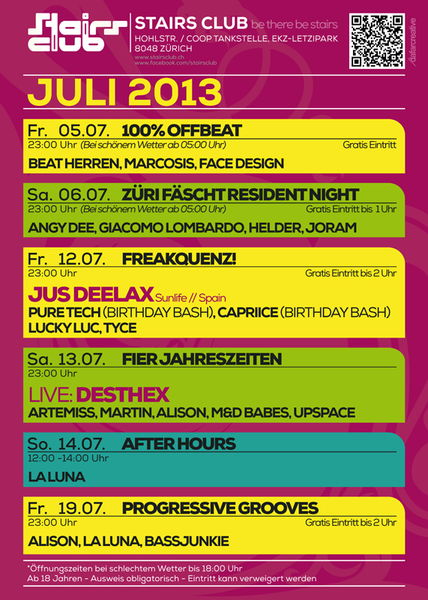 Party Flyer Progressive Grooves @ Stairs Club Zürich 19 Jul '13, 23:00