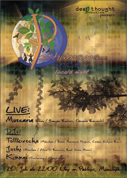 Party Flyer Pachamama Dance - Locals Night mit Muscaria 20 Jul '13, 22:00