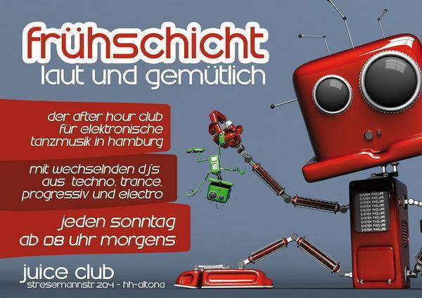 """Party Flyer Frühschicht """"laut & gemütlich"""" 21 Jul '13, 08:00"""