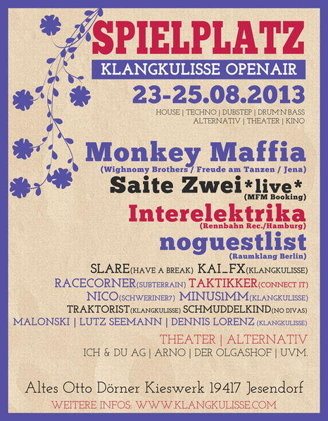 Party Flyer Spielplatz - Das Klangkulisse open air - minifestival 23 Aug '13, 16:00