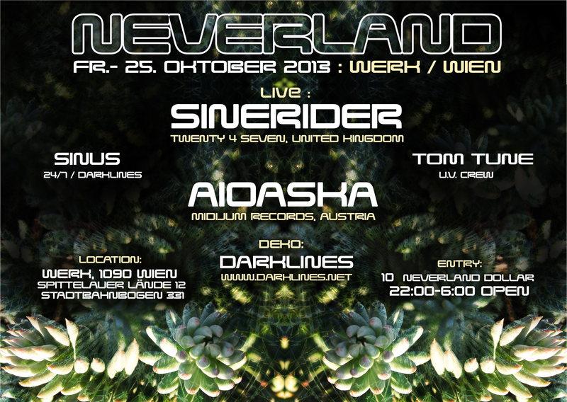 Party Flyer NEVERLAND --**Chapter 1**-- LIVE SINERIDER & AIOASKA 25 Oct '13, 22:00
