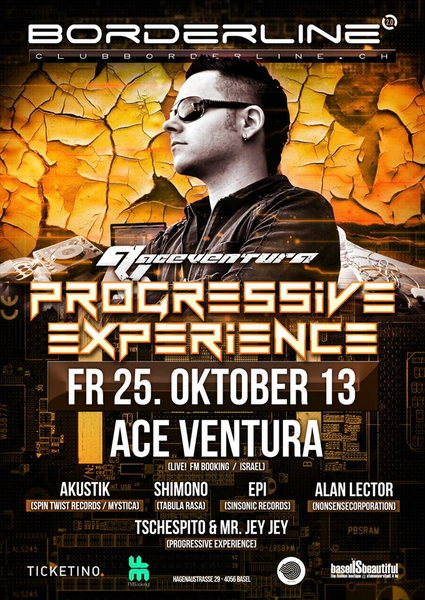 Party Flyer Progressive Experience with ACE VENTURA LIVE 25 Oct '13, 23:00
