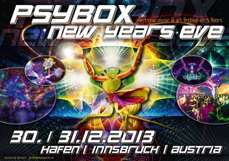 """Party Flyer PSYBOX """"New Years Eve"""" 2014 - Electronic Music & Art Festival 30 Dec '13, 20:00"""