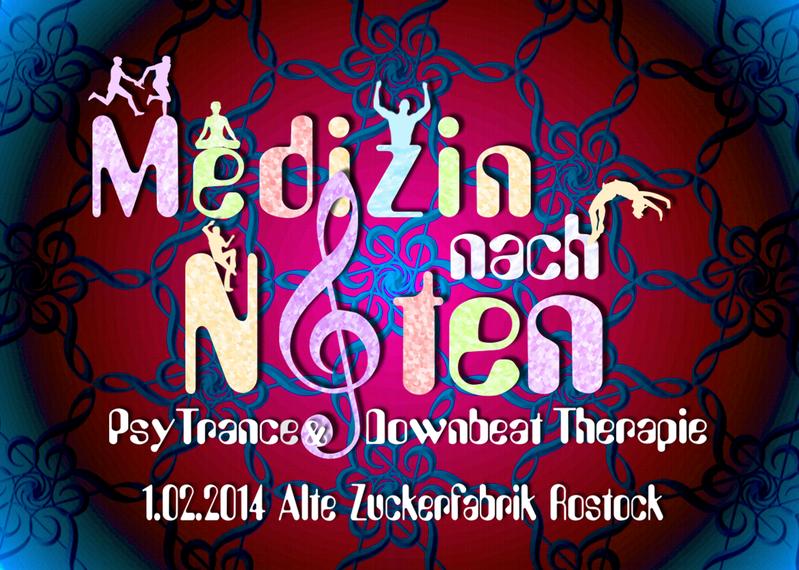 Party Flyer Medizin nach Noten Psychedelic Trance & Downbeat Therapie 1 Feb '14, 22:00