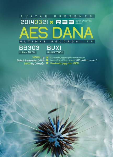 Party Flyer AMBIENT AVATAR Presents : AES DANA (Ultimae Records) - LIVE (FR) 21 Mar '14, 22:00