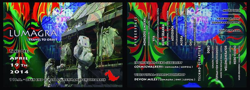 Party Flyer LUMAGRA ...travel to orbit 19 Apr '14, 22:30