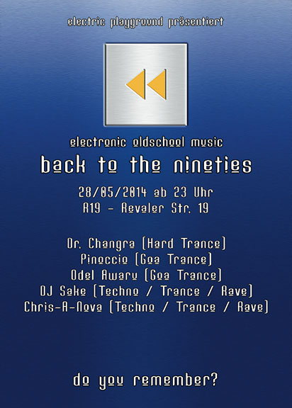 Party Flyer Back to the Nineties 28 May '14, 23:00