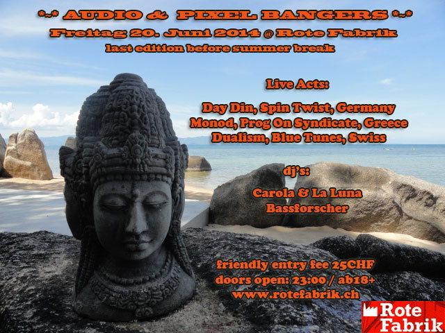 Party Flyer Audio & Pixel Bangers @ Rote Fabrik Live Day Din & Monod 20 Jun '14, 23:00