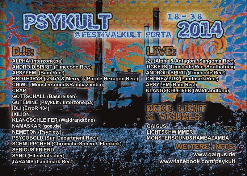 PSYKULT@Festivalkult Umsonst und Draußen 2014 1 Aug '14, 20:00