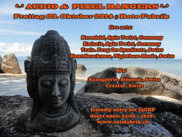 Party Flyer Audio & Pixel Bangers @ Rote Fabrik live: Kularis - Kronfeld 3 Oct '14, 23:00