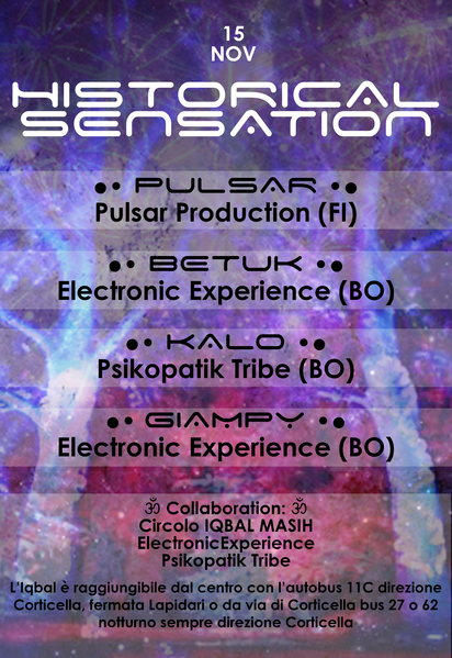 Party Flyer HISTORICAL SENSATION ★PULSAR DJ ★ 15 Nov '14, 22:30