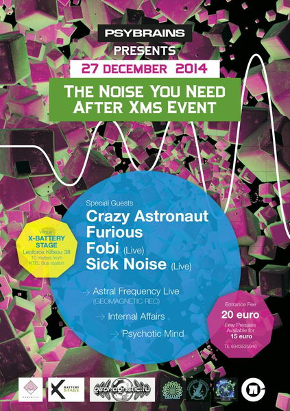 Party Flyer PSYBRAINS Presents :<<The Sound You Need After Xms Event>> 27 Dec '14, 23:30