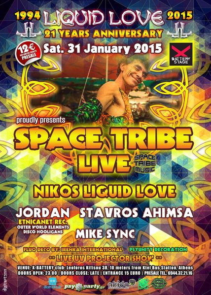 Party Flyer LIQUID LOVE Anniversary 21 Years (1994-2015) SPACE TRIBE LIVE 31 Jan '15, 23:30