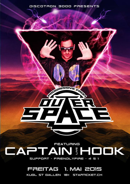 Party Flyer OUTERSPACE feat. Captain Hook 1 May '15, 23:00