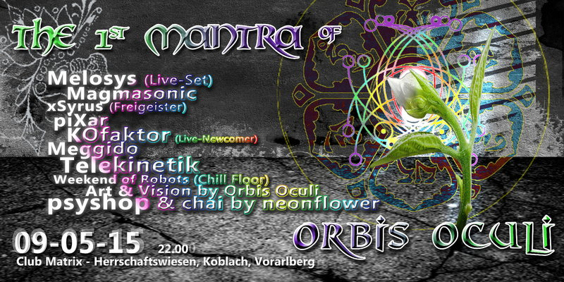 Party Flyer The First Mantra of Orbis Oculi 9 May '15, 22:00
