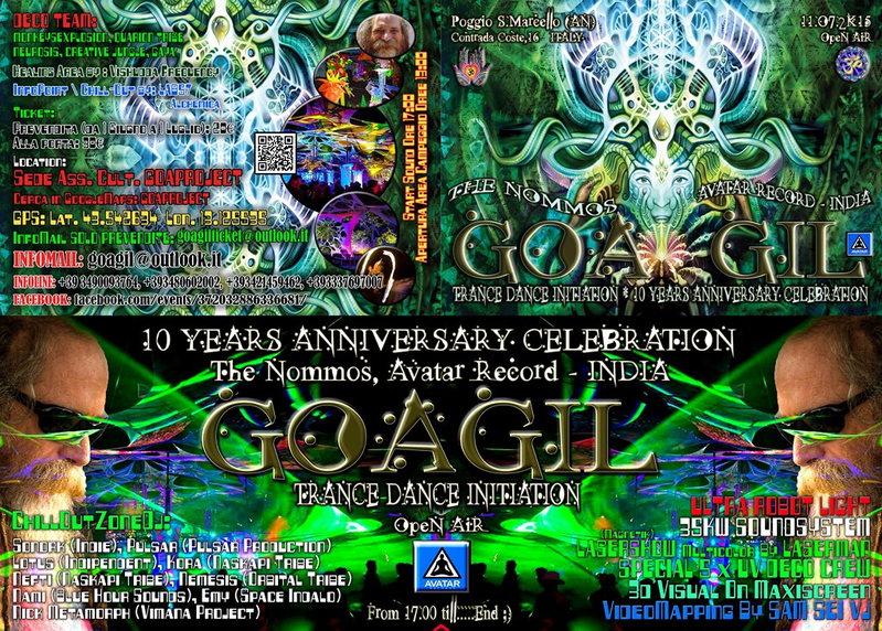 Party Flyer ૐ GOAGIL TRANCE DANCE INITIATION 2015 - 10 YEARS ANNIVERSARY CELEBRATION ૐ 11 Jul '15, 13:00