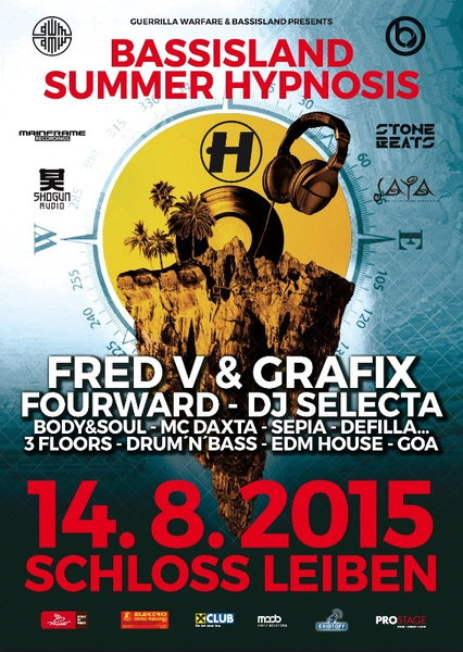 Party Flyer BASSISLAND Summer Hypnosis 14 Aug '15, 21:30
